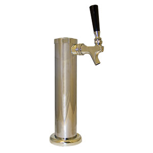 chrome plated kegerator tower with 1 faucet